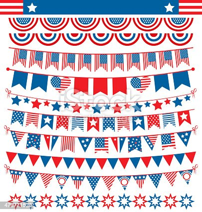 USA celebration buntings garlands flags flat national set for in