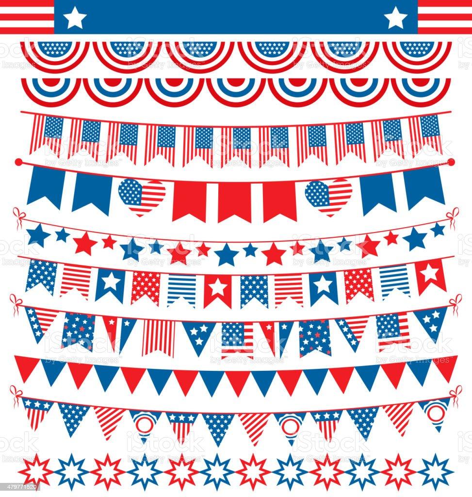 USA celebration buntings garlands flags flat national set for in vector art illustration