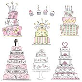 Vector illustration elements of an assortment of cakes done in hand drawn sketch style. Included are a Sweet Sixteen triple later cake, four decorated cupcakes, a Baby Shower cake with teddy bear, a triple later birthday cake and three wedding cakes on the bottom. One traditional cake with couple on top, another with leaves and flowers on a cake plate and last, a five layer cake with bows, flowers and a heart to top it off.