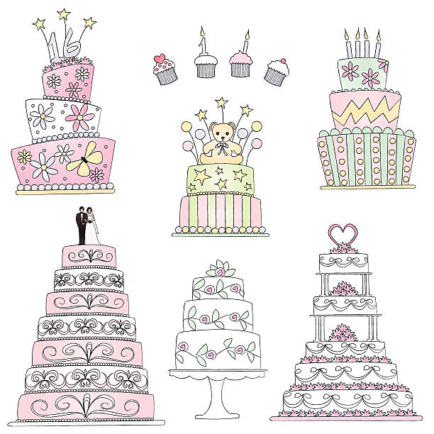 Celebration cakes in sketch style. Vector illustration elements of an assortment of cakes done in hand drawn sketch style. Included are a Sweet Sixteen triple later cake, four decorated cupcakes, a Baby Shower cake with teddy bear, a triple later birthday cake and three wedding cakes on the bottom. One traditional cake with couple on top, another with leaves and flowers on a cake plate and last, a five layer cake with bows, flowers and a heart to top it off. wedding cake stock illustrations