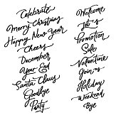 New year and Christmas and valentine celebration text calligraphy set.