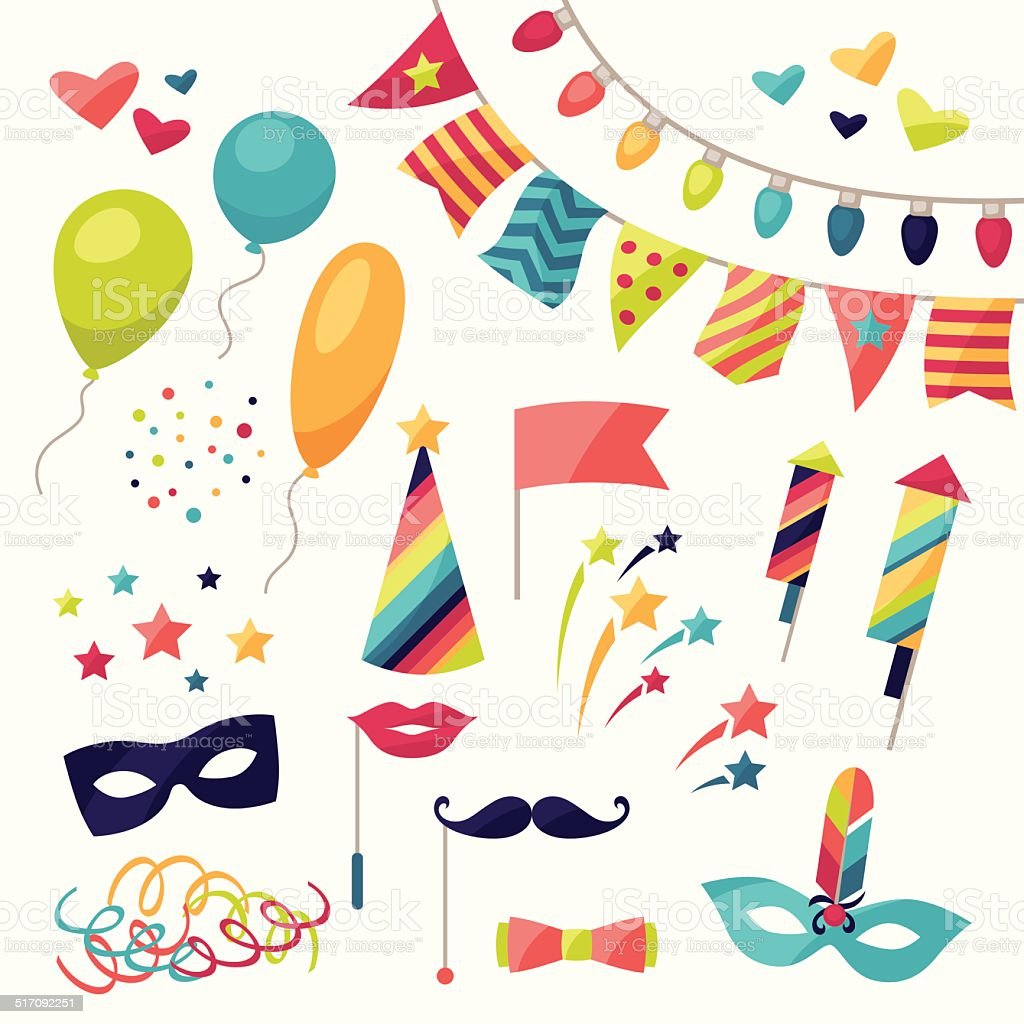 Celebration carnival set of icons and objects. vector art illustration