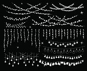 Celebration Christmas New Years Birthdays Festivals and other events hanging garlands silhouettes in shapes of bulbs lamps, circles and stars, xmas trees, balls and objects
