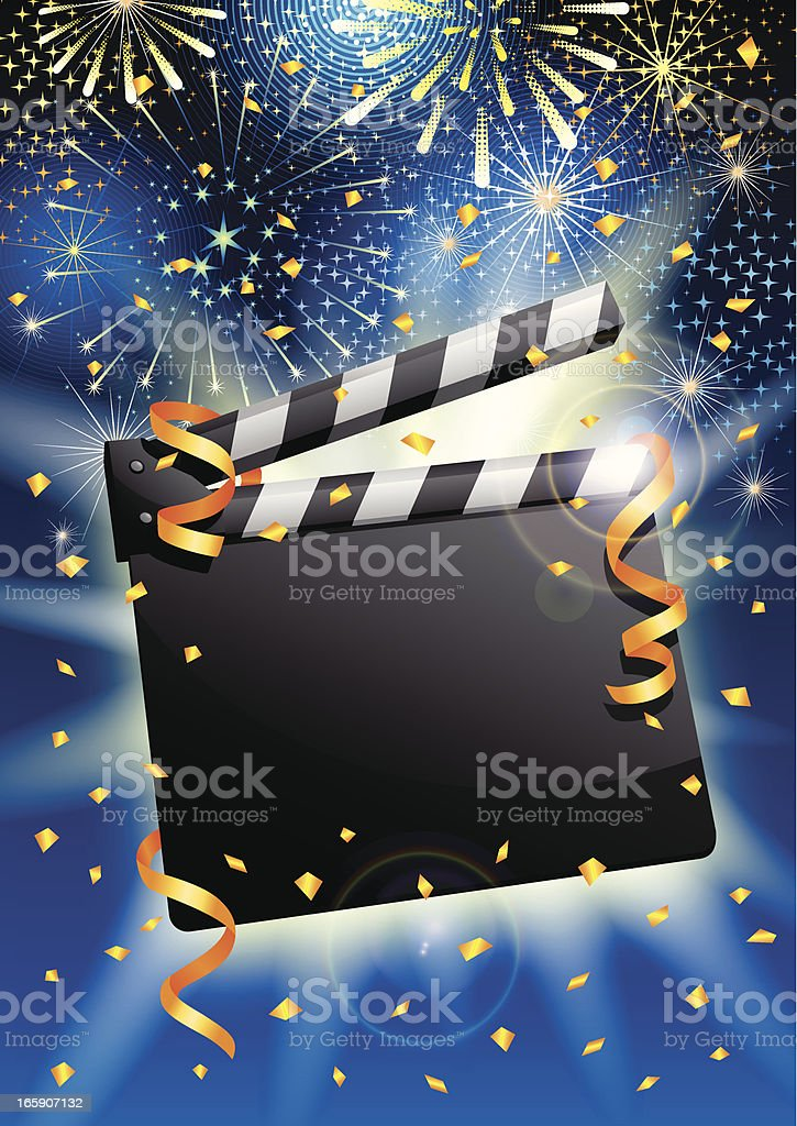 Celebration clapboard with streamers, confetti and fireworks royalty-free celebration clapboard with streamers confetti and fireworks stock vector art & more images of arts culture and entertainment