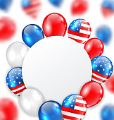 Illustration Celebration Clean Card with Balloons in American National Colors - Vector