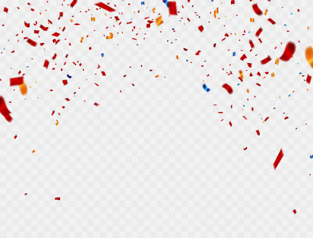 celebration colorful background template with confetti and red ribbons. vector illustration - confetti stock illustrations