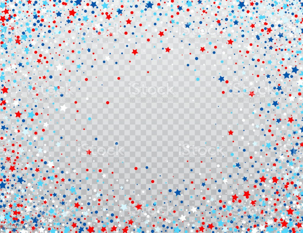 USA celebration confetti stars in national colors for American independence day isolated on background. Vector illustration vector art illustration