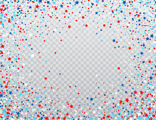 USA celebration confetti stars in national colors for American independence day isolated on background. Vector illustration USA celebration confetti stars in national colors for American independence day isolated on background. Vector illustration EPS10 independence day illustrations stock illustrations