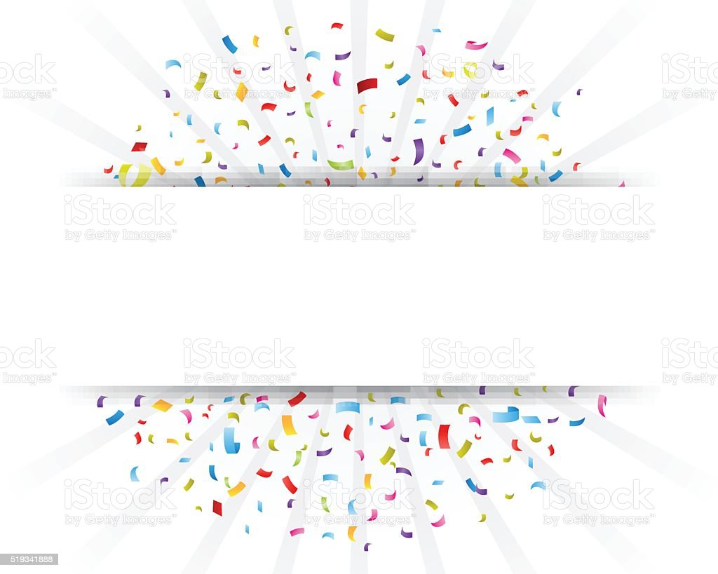 Celebration confetti with paper sign vector art illustration