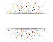 Celebration confetti with paper sign