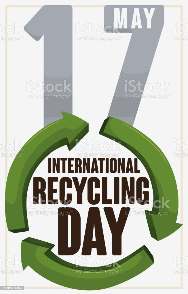 Celebration Date Over Recycle Arrows Symbol For International