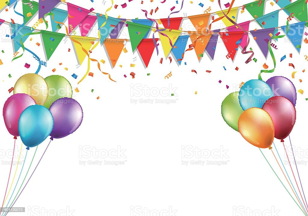 Celebration design with flag, balloon, confetti and streamer - ilustración de arte vectorial