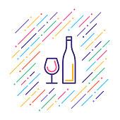 Line vector illustration of bottle and glass.