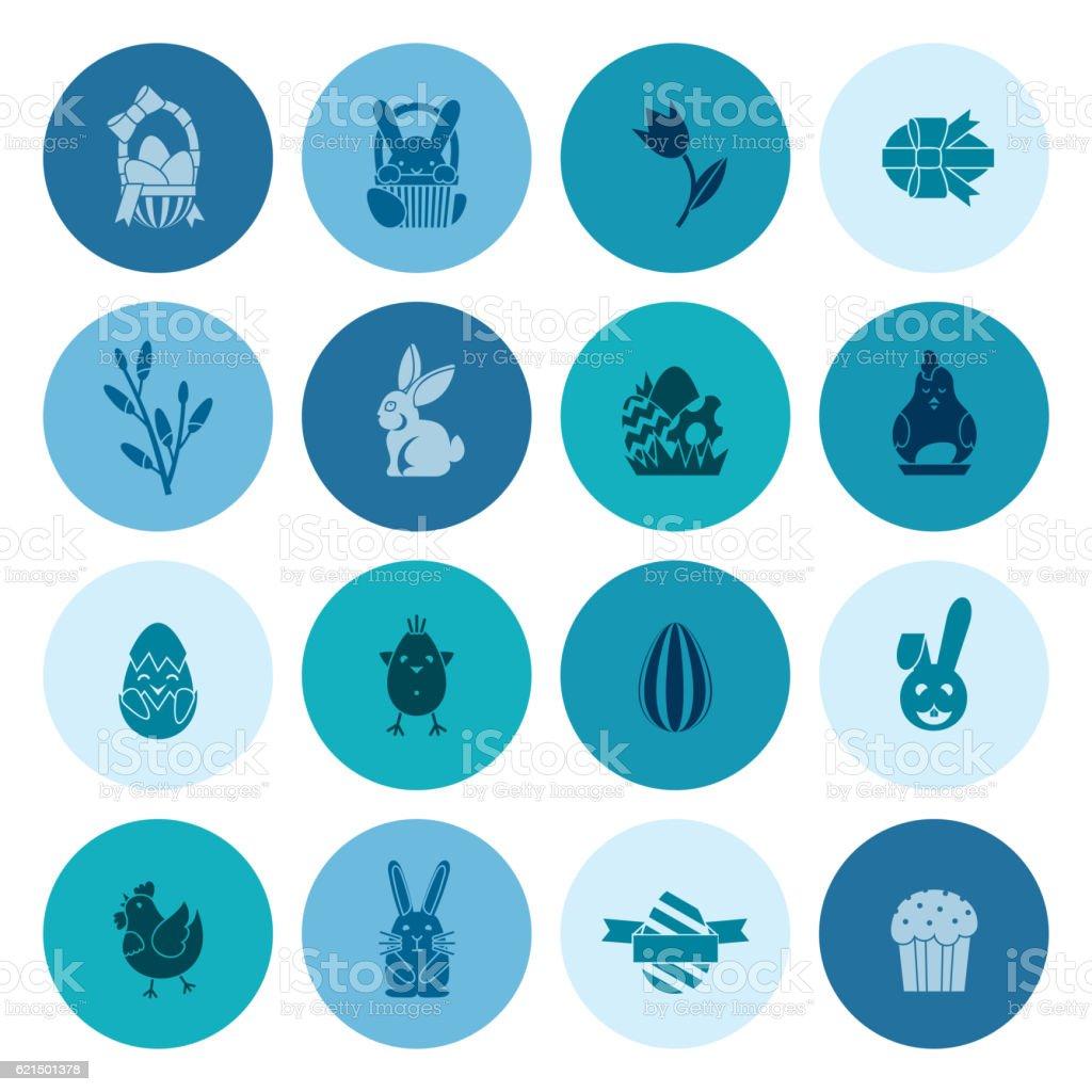 Célébration d'icônes de Pâques célébration dicônes de pâques – cliparts vectoriels et plus d'images de bleu libre de droits