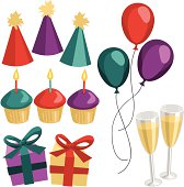 Various celebration elements, including party hats, balloons, champagne glasses, cupcakes, and presents.