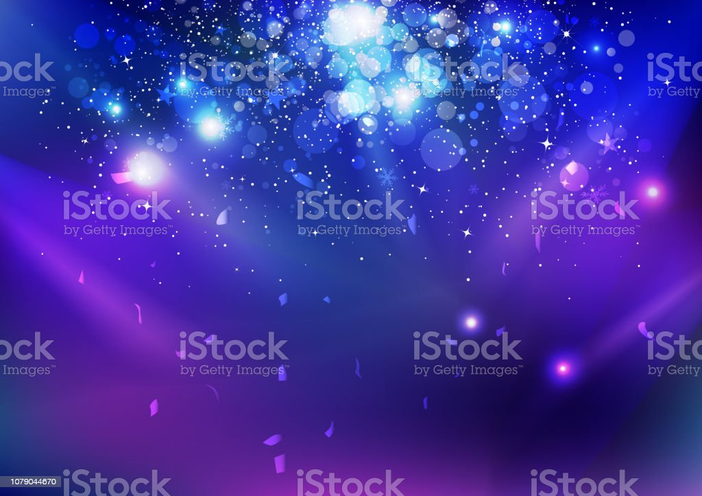 Celebration, event, stars dust and confetti falling, blue night explosion glowing light on stage concept abstract background vector illustration Celebration, event, stars dust and confetti falling, blue night explosion glowing light on stage concept abstract background vector illustration Abstract stock vector