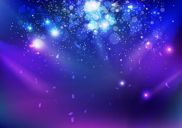 celebration, event, stars dust and confetti falling, blue night explosion glowing light on stage concept abstract background vector illustration - reflektor światło elektryczne stock illustrations