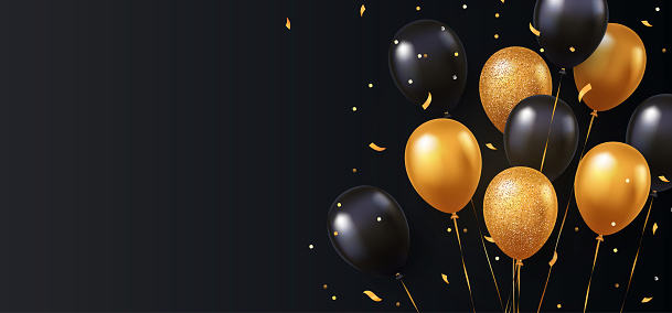 Celebration, festival background with helium balloons. Greeting banner or poster with gold and black realistic 3d vector flying balloons.