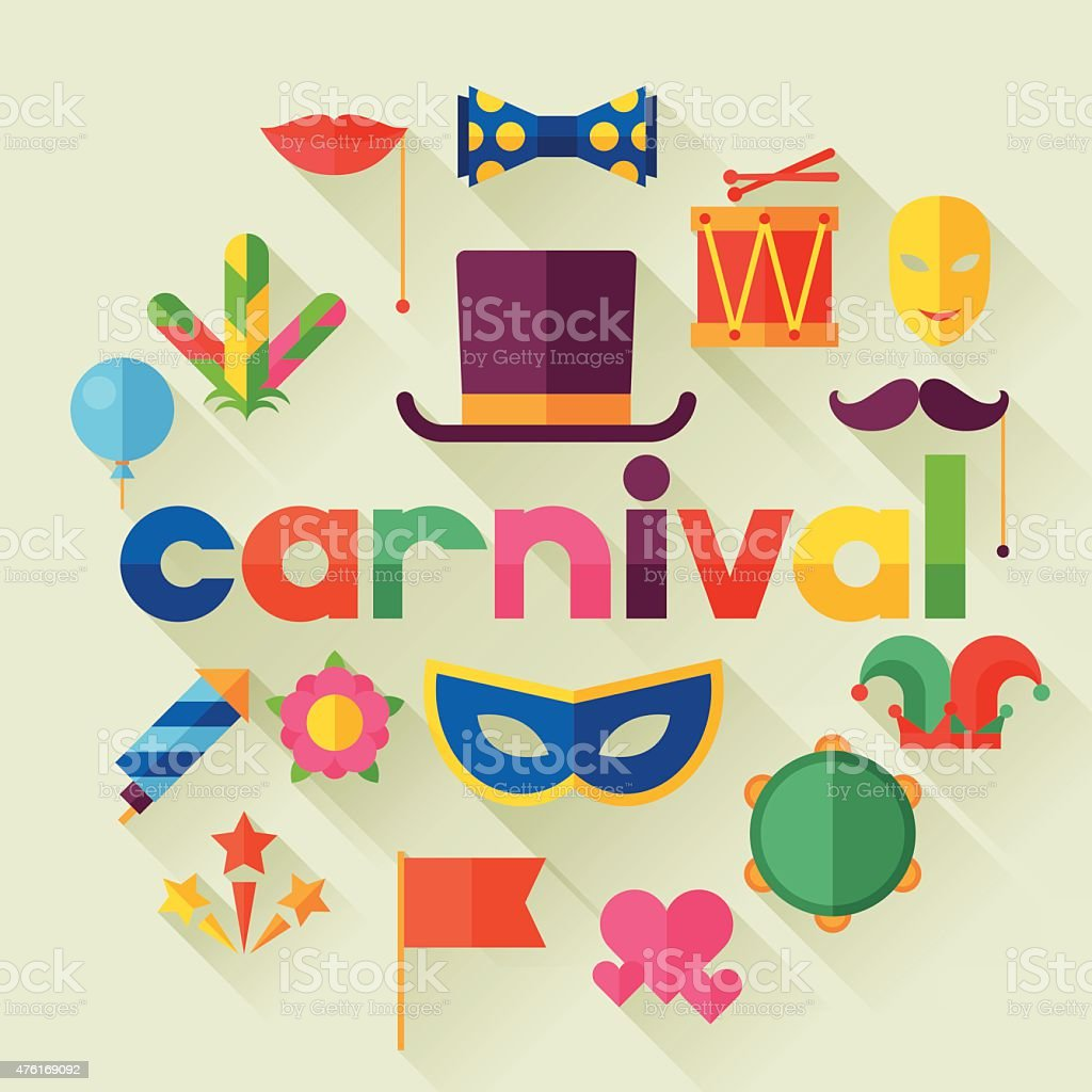 Celebration festive background with carnival flat icons and objects vector art illustration