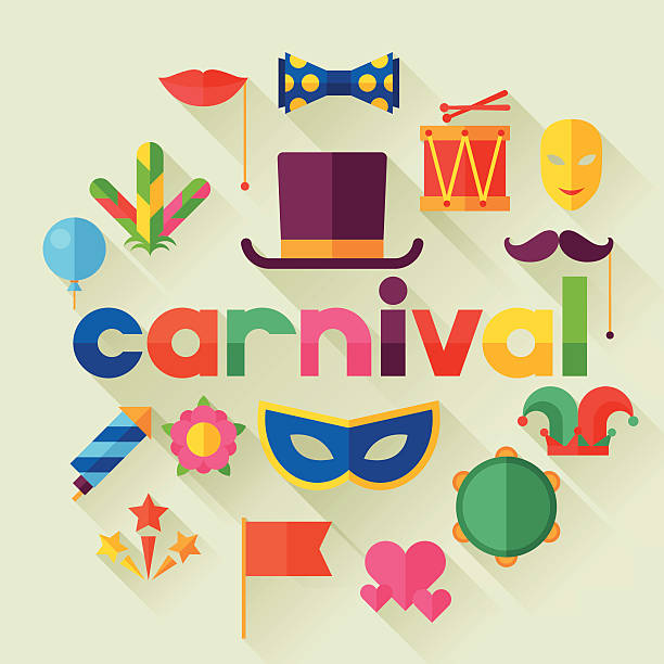 stockillustraties, clipart, cartoons en iconen met celebration festive background with carnival flat icons and objects - tamboerijn