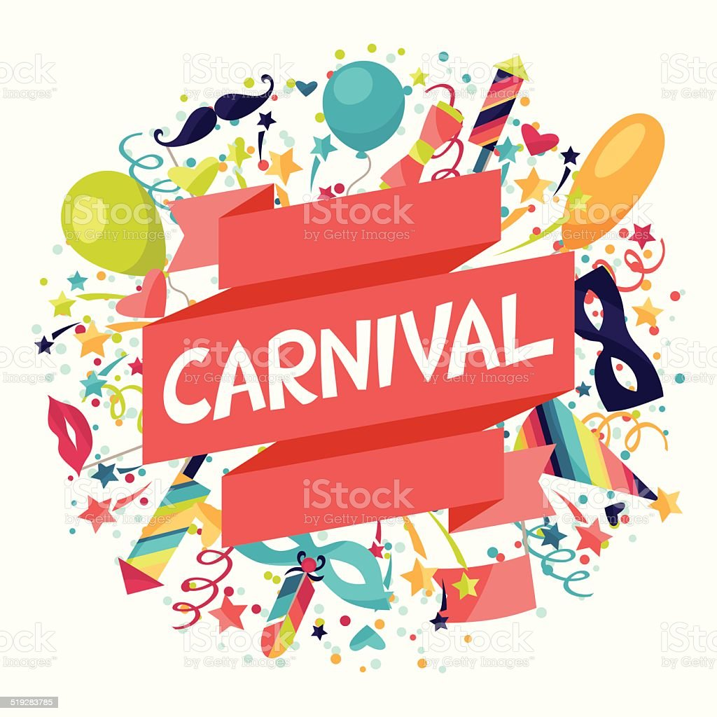 Celebration festive background with carnival icons and objects. vector art illustration