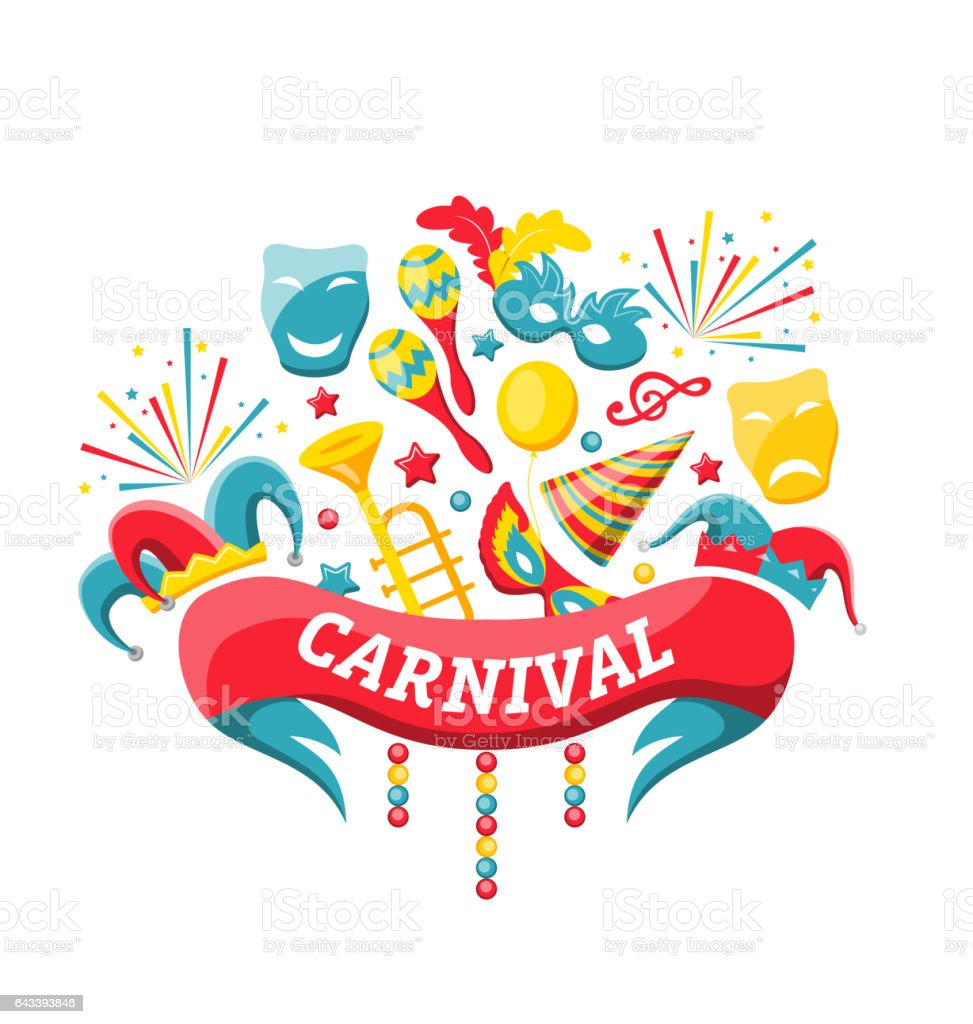 Celebration Festive Banner for Happy Carnival vector art illustration