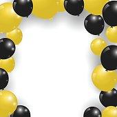 Celebration festive gold and black balloons. Vector Illustration.