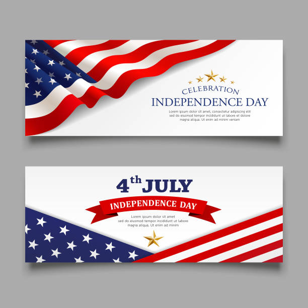 celebration flag of america independence day banners collections - american flag stock illustrations