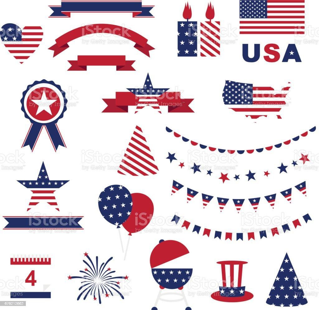 Usa Celebration Flat National Symbols Stock Vector Art More Images