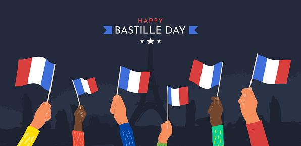 Celebration Happy Bastille day July 14th vector illustration. Cartoon hands waving France flags on dark background.