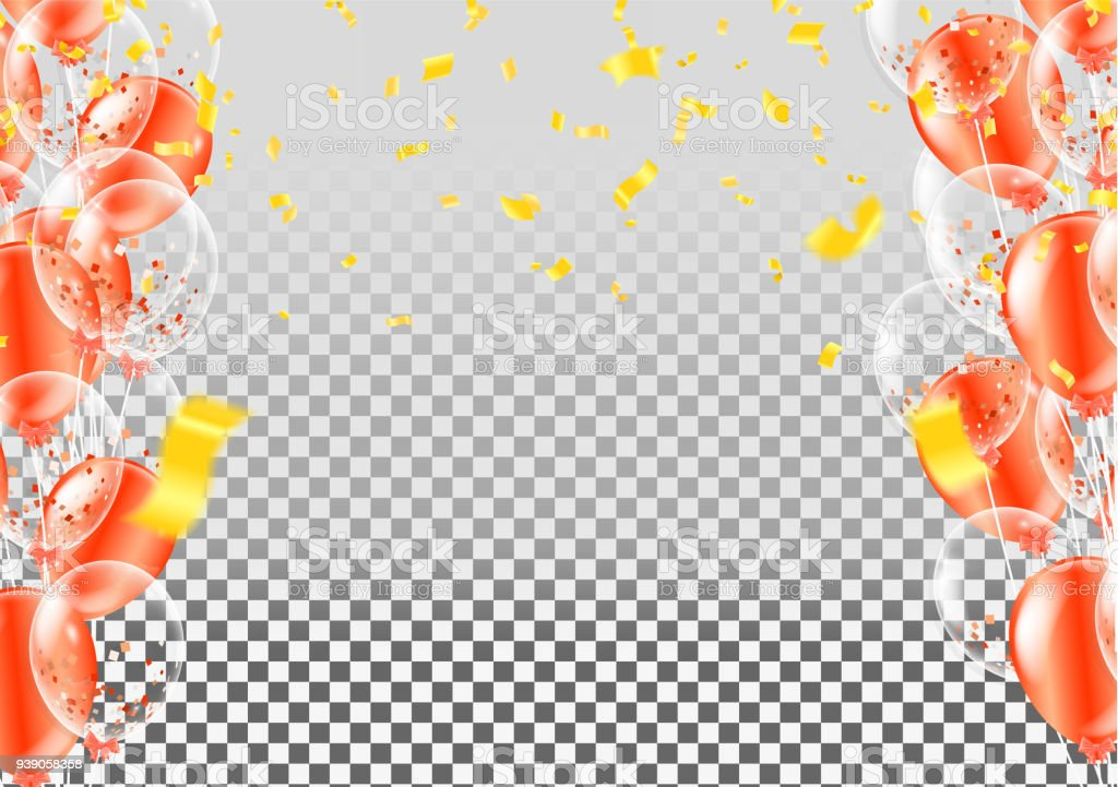 Celebration Happy Birthday Party Banner With Balloons And Serpentine
