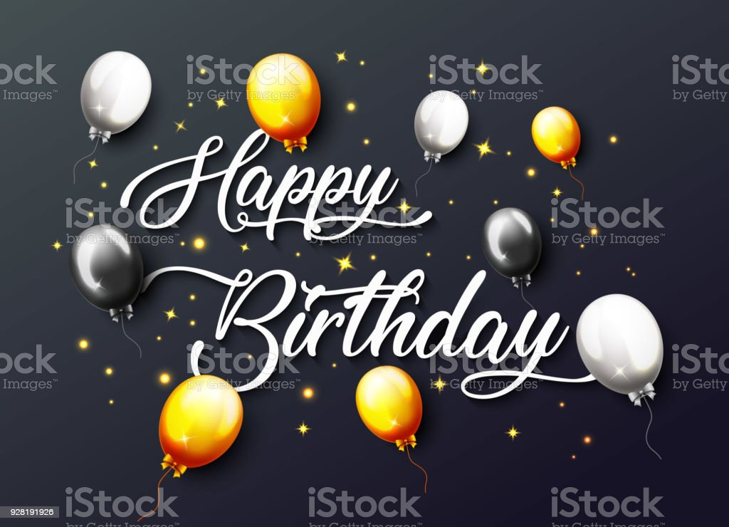 Celebration Happy Birthday Party Banner With Golden Balloons Royalty Free