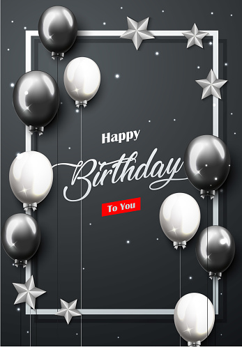 Celebration Happy Birthday Party Banner With Silver And Black Balloons