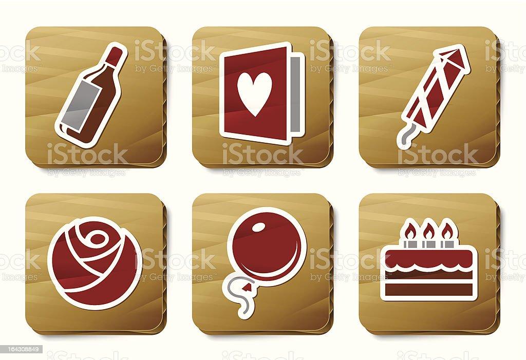 Celebration icons | Cardboard series royalty-free stock vector art