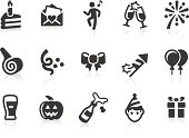 Monochromatic celebration and party related vector icons for your design and application. Raw style. Files included: vector EPS, JPG, PNG.
