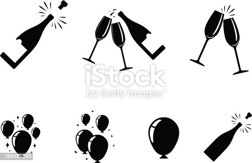 champagne and balloon icons