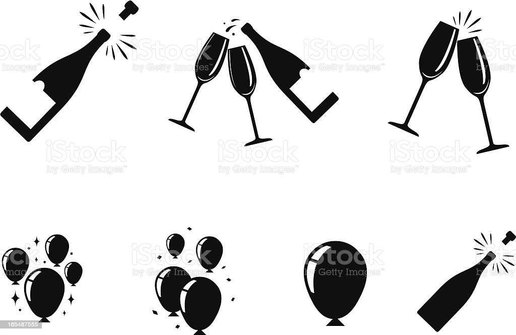 celebration icons vector art illustration