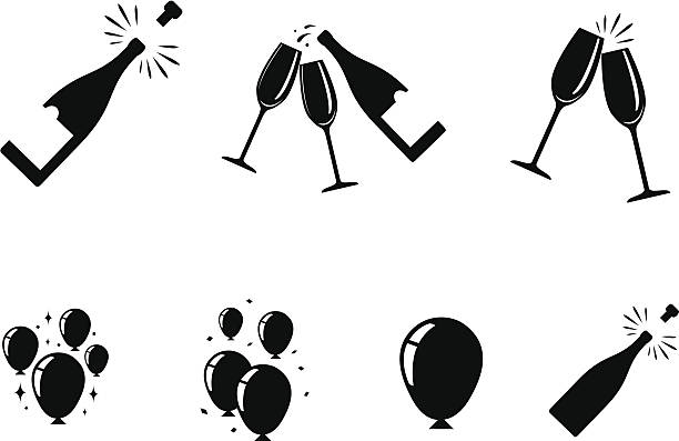 stockillustraties, clipart, cartoons en iconen met celebration icons - kurk
