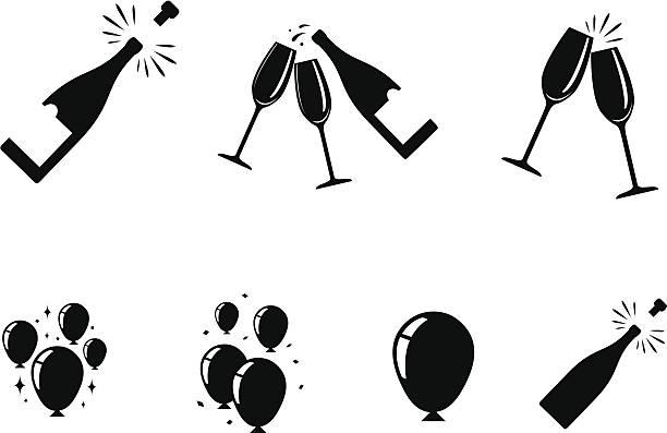 ilustrações, clipart, desenhos animados e ícones de ícones de comemoração - brinde