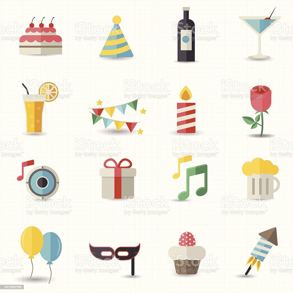 Celebration icons vector art illustration