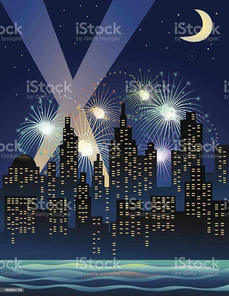 Celebration in the city royalty-free stock vector art