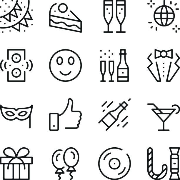 Célébration ligne icônes définies. Concepts de design graphique moderne, collection elements contour simple. Icônes de vecteur ligne - Illustration vectorielle