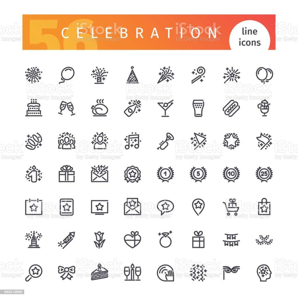 Célébration ligne Icons Set - Illustration vectorielle