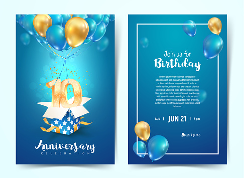 Celebration of 10 th years birthday vector invitation card. Ten years anniversary celebration brochure. Template of invitational for print on blue background