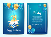 Celebration of 21 th years birthday vector invitation card. Twenty one years anniversary celebration brochure. Template of invitational for print on blue background.