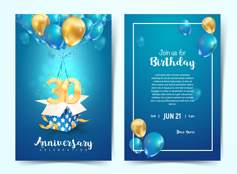 Celebration of 30 th years birthday vector invitation card. Thirty years anniversary celebration brochure. Template of invitational for print on blue background
