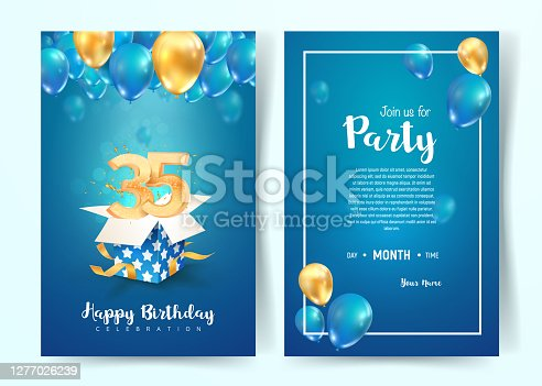 istock Celebration of 35 th years birthday vector invitation card. Thirtty five years anniversary celebration brochure. Template of invitational for print on blue background 1277026239