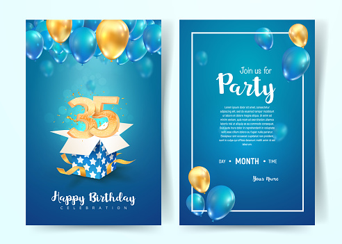 Celebration of 35 th years birthday vector invitation card. Thirtty five years anniversary celebration brochure. Template of invitational for print on blue background