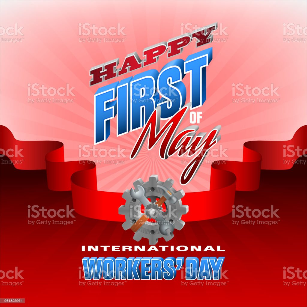 Celebración del primero de mayo, día internacional de los trabajadores - ilustración de arte vectorial