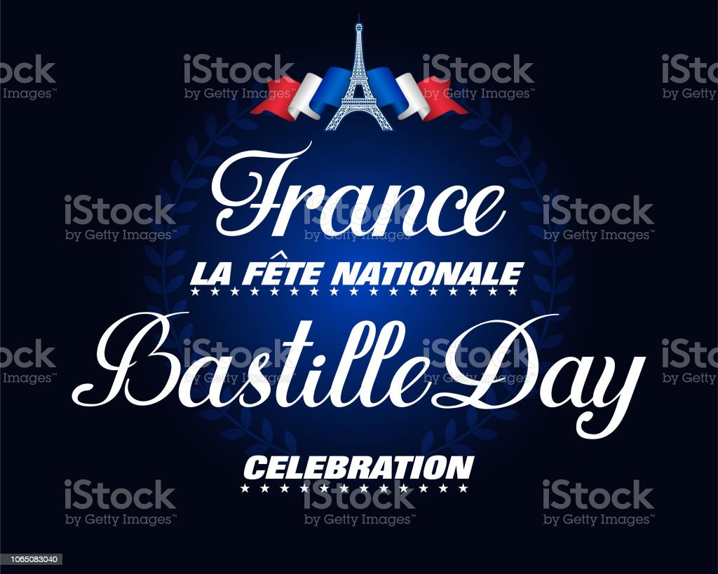 Celebration of National holiday, Bastille day in France vector art illustration